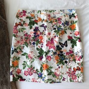Loft Floral & Butterfly Pencil Skirt